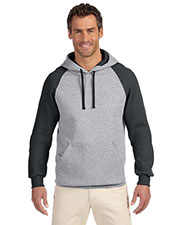 Jerzees 96CR Men 8 oz., 50/50 NuBlend Colorblock Raglan Pullover Hood at GotApparel