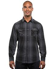 Burnside B8206 Men Long-Sleeve Western Plaid Shirt at GotApparel