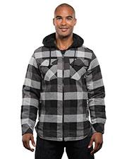 Burnside B8620 Men Hooded Flannel Jacket at GotApparel