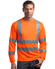 CornerStone® CS409 Men's ANSI 107 Class 3 Long-Sleeve Snag-Resistant Reflective T-Shirt at GotApparel