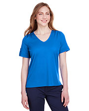 Devon & Jones DG20WB women CrownLux Performance Plaited Rolled-Sleeve Top at GotApparel