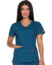 Dickies Medical DK605 Women Button Front V-Neck Top at GotApparel