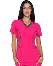 Dickies Medical DK715 Women Contrast Piping V-Neck Top at GotApparel