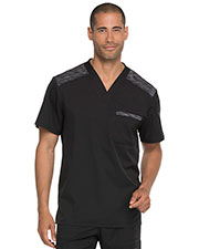 Dickies Medical DK745 Men Melange Contrast V-Neck Top at GotApparel