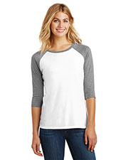 District Made DM136L Women's Perfect Tri 3/4-Sleeve Raglan at GotApparel