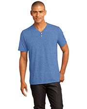 District Made DM342 Men  Tri blend Short Sleeve Henley Tee at GotApparel