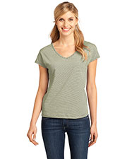 District Made DM422 Women  Mini Stripe Dolman V-Neck Tee at GotApparel