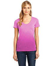 District Made DM4310 Women  Dip Dye Rounded Deep V-Neck Tee at GotApparel