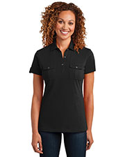 District Made DM433 Women Double Pocket Polo at GotApparel