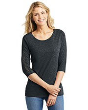 District Made DM444 Women Tri blend Lace 3/4Sleeve Tee at GotApparel
