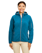 Devon & Jones DP700W Ladies 8.9 oz Perfect Fit Mélange Velvet Fleece Hooded Full-Zip at GotApparel