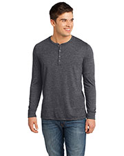 District DT1401 Men Gravel 50/50 Long Sleeve Henley Tee at GotApparel