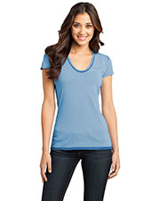 District DT2202 Women Faded Rounded Deep V-Neck Tee at GotApparel
