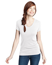 District DT234V Women 1x1 Rib V-Neck Tee at GotApparel