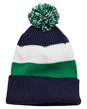 District DT627 Men Vintage Striped Beanie with Removable Pom at GotApparel