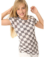 Big Girls 7-16 BurnOut Checkered Sublimation Crew Neck Short Sleeve at GotApparel