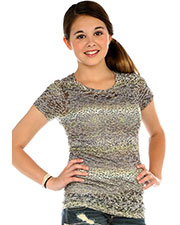 Big Girls 7-16 BurnOut Cheetah Sublimation Crew Neck Short Sleeve at GotApparel