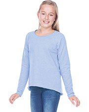 Girls 7-16 French Terry Raw Edge Raglan High-Low Long Sleeve at GotApparel