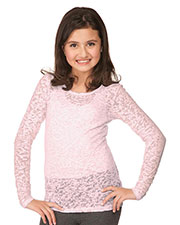 Big Girls 7-16 Burnout Twisted Crew Neck Long Sleeve at GotApparel