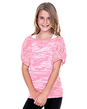 Girls 7-16 Camouflage Striped Burnout Twisted Boat Neck Dolman Sleeve at GotApparel