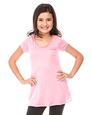 Big Girls 7-16 Sheer Jersey Double Raw Edge Scoop Neck Penny Pocket Short Sleeve at GotApparel