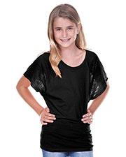Big Girls 7-16 Scoop Neck Contrast Raglan Dolman Short Sleeve at GotApparel