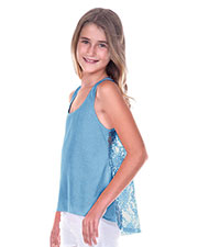 Big Girls 7-16 Jersey High Low Lace Back Tank at GotApparel