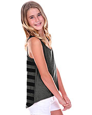 Big Girls 7-16 Striped Jersey Contrast Back High Low Tank at GotApparel