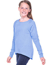 Girls 7-16 Sheer Jersey Raw Edge Raglan High Low Long Sleeve at GotApparel