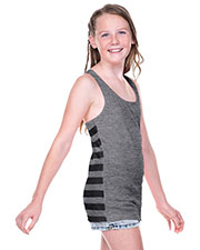 Girls 7-16 Sheer Jersey Contrast Striped Back Knot-Back Tank at GotApparel