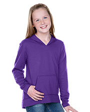 Girls 7-16 Jersey RawEdge High Low Long Sleeve Hoodie w.Pouch at GotApparel