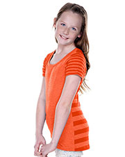 Girls 7-16 Striped Jersey Multi Contrast Short Sleeve at GotApparel