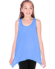 Girls 7-16 Sheer Jersey Scoop Neck Raw Edge Shark Bite Tank at GotApparel