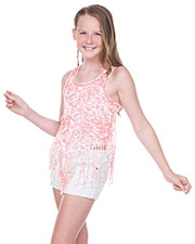 Girls 7-16  Static Jersey Print Scoop Neck Raw Edge V Fringe Tank at GotApparel