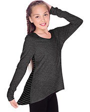 Girls 7-16 Contrast Mini Striped Back High Low Long Sleeves at GotApparel