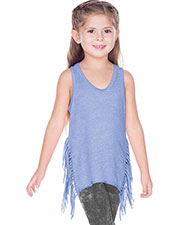Girls 7-16 Sheer Jersey Asymmetrical Side Fringe Tank at GotApparel