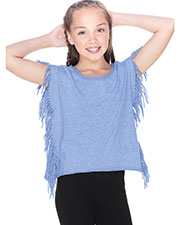 Girls 7-16 Sheer Jersey Raw Edge Side Fringe Asymmetrical Cap Sleeve CropTop at GotApparel