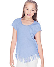Girls 7-16 Sheer Jersey Raw Edge V Fringe Short Sleeve at GotApparel