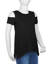 Girls 7-16 Sheer Jersey Raw Edge Scoop Neck Cold Shoulder Short Sleeves at GotApparel
