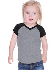 Unisex Infants Sheer Jersey Contrast V Neck Raglan Short Sleeve at GotApparel