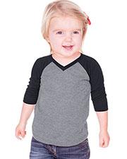 Unisex Infants Sheer Jersey Contrast V Neck Raglan 3/4 Sleeve at GotApparel