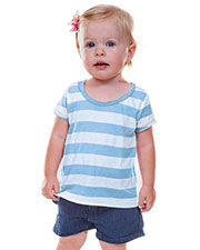 Infants Striped Jersey Scoop Neck High-Low Short Sleeve at GotApparel