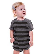 Unisex Infants Striped Jersey Crew Neck Raglan Short Sleeve Bodysuit at GotApparel