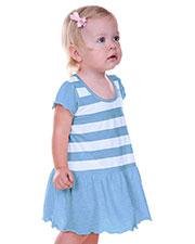 Infants Girls Striped Jersey Scoop Neck Flutter Sleeve Dress at GotApparel
