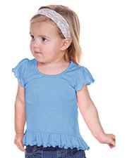 Infants Girls Sheer Jersey High Low Flutter Top at GotApparel