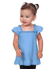 Infants Sheer Jersey Ruffle U Neck Flutter Sleeve Top at GotApparel