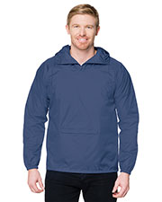 Tri-Mountain J1005 Men Packable Zipped Pullover Hooded Anorak Jacket at GotApparel