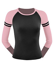 Junior Athletic Crew Neck 3/4 Sleeve Raglan Top at GotApparel