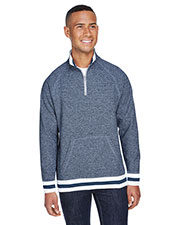 J America JA8703 Men Peppered Fleece Quarter-Zip at GotApparel