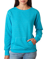 J America J8867 Women Glitter French Terry Crew at GotApparel